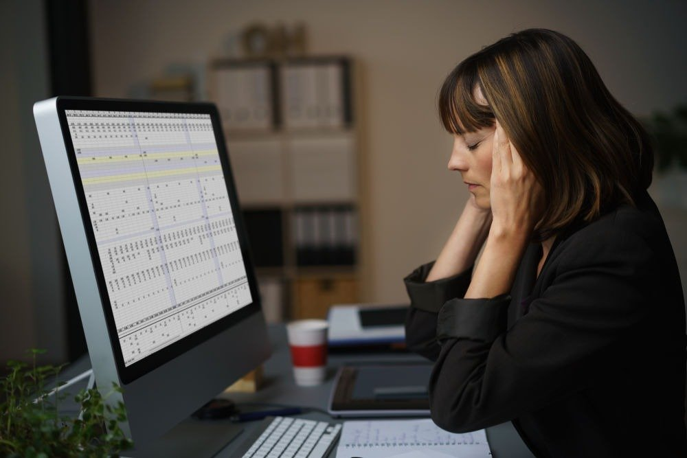 self employed woman stressed